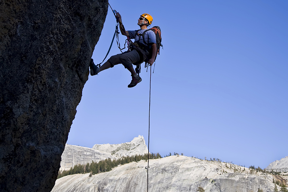 Skilled Rock Climber at Yosemite National Park
