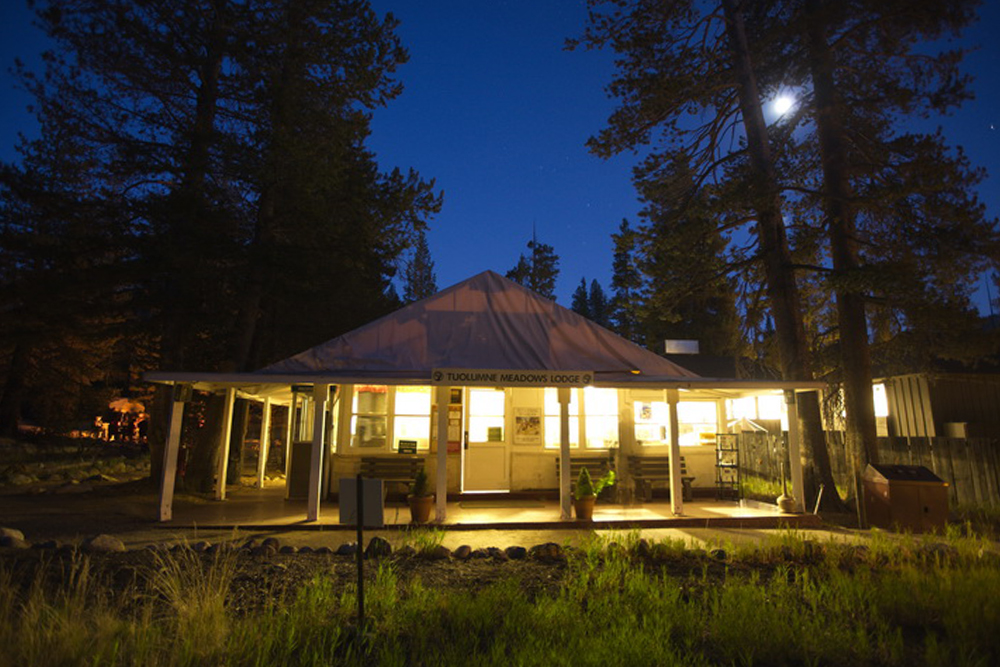 Lodge exterior at night